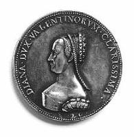 A coin with a picture of Diane de poitiers